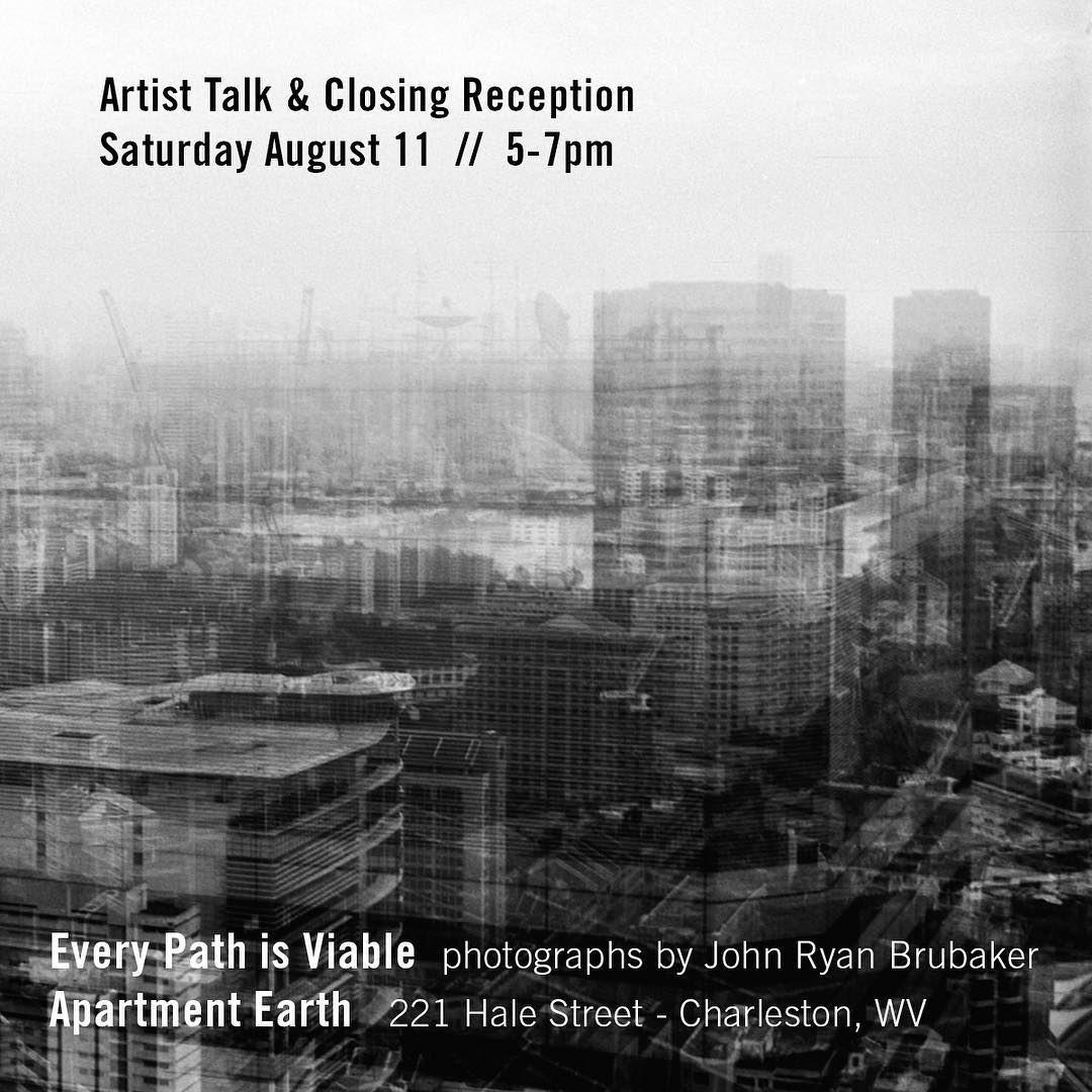 Friends… this Saturday I'll be giving a talk at Apartment Earth in Charleston for the closing of 'Every Path is Viable'. . Saturday, August 11. 5:00–7:00pm. 221 Hale St. . Please feel welcome to join us. . #finissage #artisttalk #charlestonwv