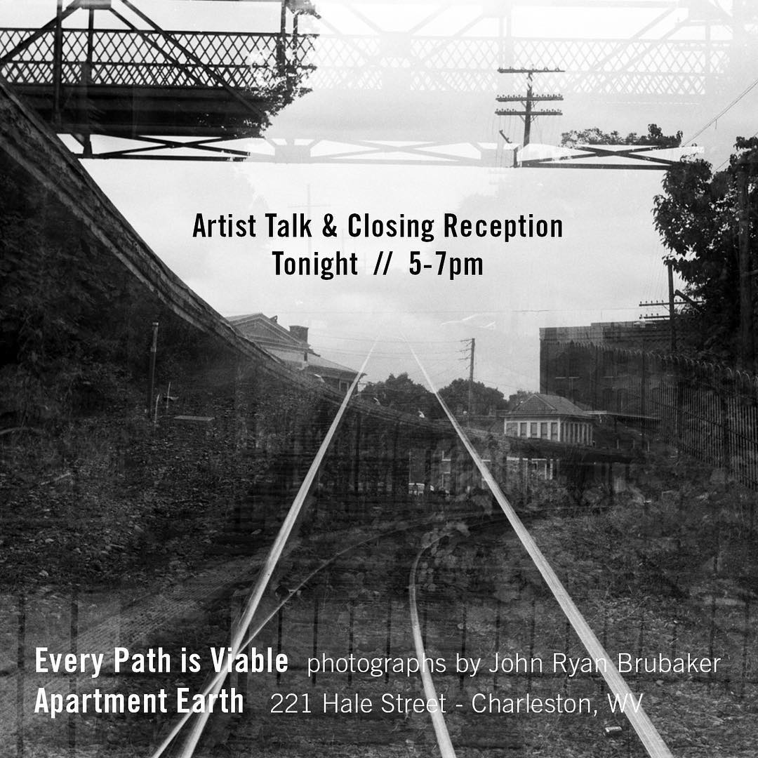 This evening at Apartment Earth in Charleston.  Talk and closing reception of 'Every Path is Viable'. . 5:00–7:00pm. Talk around 6:00pm. 221 Hale St. . I'm a get a beer first and hope to see you then. . #finissage #artisttalk #charlestonwv