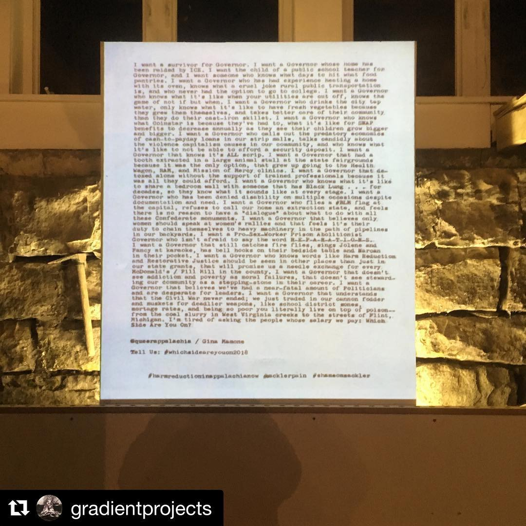 #whichsideareyouon  By Gina Mamone (@queerappalachia) invokes the spirit of Zoe Leonard's 'I want a Dyke for President' in the context of 2018 Appalachia and the opioid epidemic.  Part of the @gradientprojects show opening now during #thomasartwalk  #shameonsackler #harmreductioninappalachianow  #whichsideareyouon2018
